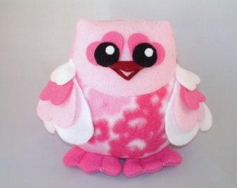 Stuffed heart owl in pink fleece with heart wings