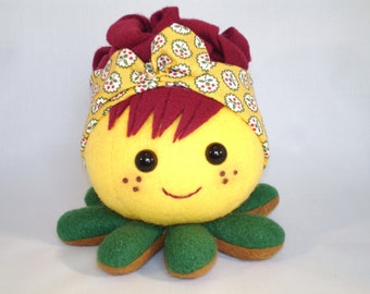 Rockabilly octopus toy flower headband and red hair
