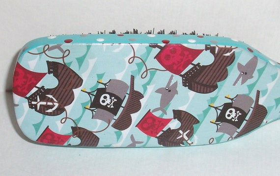 Pirate Ship and Shark- Boys- Boar Bristle Hair Brush- Hand Painted and Papered