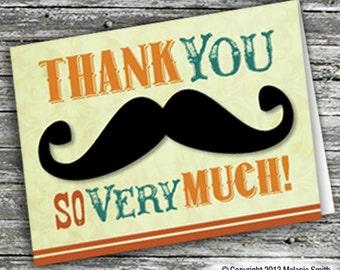 Printable Mustache Thank You Card