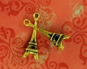 2 Little Antique Gold Eiffel Tower Charms - 24x8mm, Very Romantic