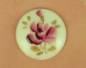 Beautiful Vintage Hand Painted Red Rose Cabochon - 25mm from Western Germany