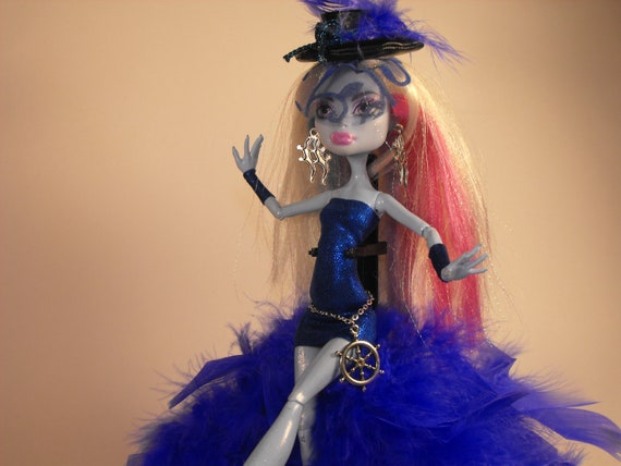 Blue and Teal Burlesque Style Costume for Monster High Dolls