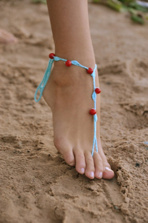 Crochet Turquoise Barefoot Sandals with red stone beads, Nude shoes, Foot jewellery, Wedding, Victorian Lace, Sexy, Yoga, Anklet  Bellydanc