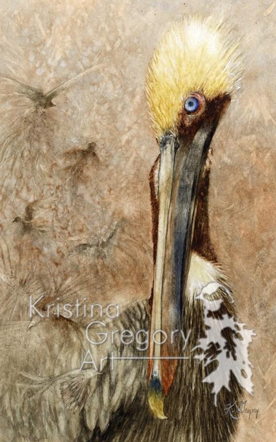 Pelicans, Birds, Dreams: Original Watercolor Painting 11X16