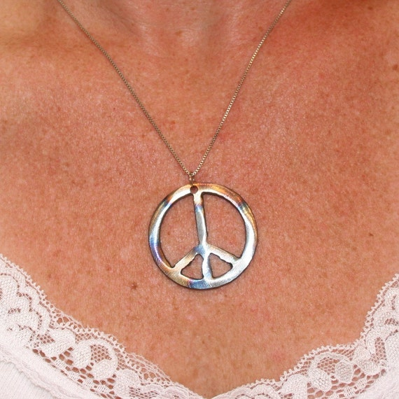 Peace Sign Pendant Recycled Steel, Iridescent peace sign Metal peace sign