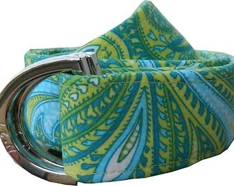 Fabric Belt/ Paisley Belt/ Woman's D-Ring Belt/ Canvas Belt/ Preppy Belt/Blue and Green Paisley Fabric Belt