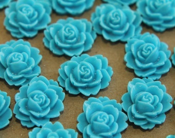 CLOSEOUT - 20 pc. Sky Blue Cabbage Rose Cabochons 18mm x 16mm - RES-130