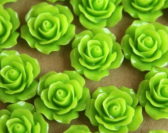 20 pc. Bright Green Crisp Petal Rose Cabochons 18mm | RES-063