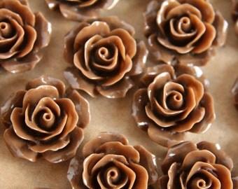 20 pc. Chocolate Brown Crisp Petal Rose Cabochons 18mm | RES-002