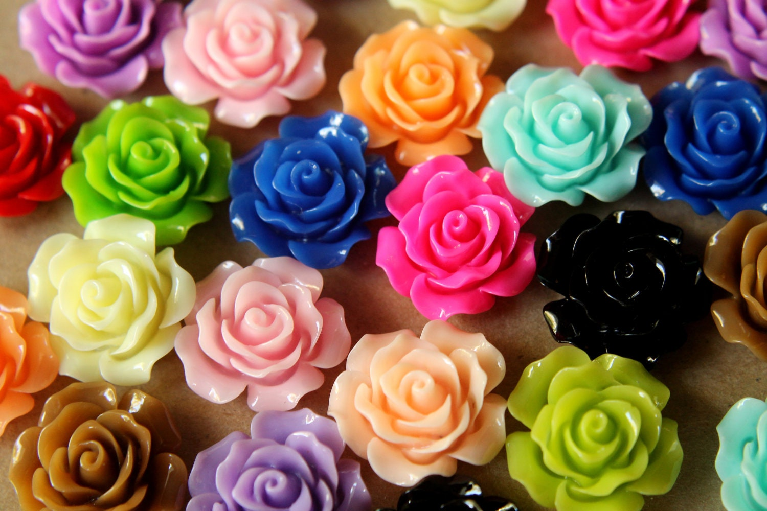 30 pc multi colored crisp petal rose cabochons 20mm res 269 for Dual color roses