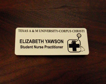 Name Tag with magnet back and logo