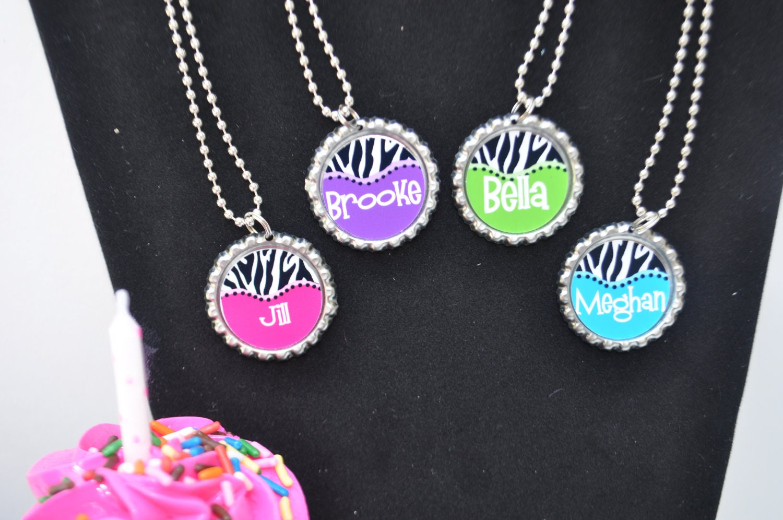 4 personalized zebra bottlecap necklace favor you