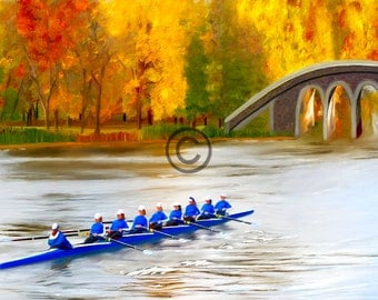 Rowers  Rowing On The Genesee Canvas Print Crew Art Fine Art Home Decor Digital Painting