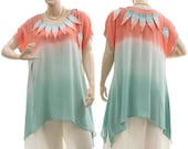 Flared artsy boho top blouse tunic, turquoise apricot / lagenlook for small, medium or plus sized women, US size 8-14 / hand dyed