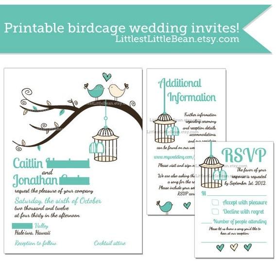 Items Similar To DIY Birdcage Wedding Invitation, Inserts