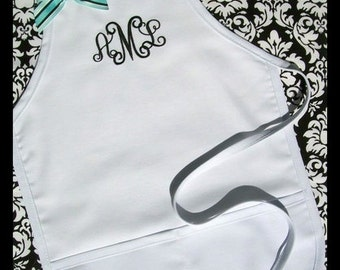 Personalized Flower Girl Apron - Monogrammed Girls Apron, Monogrammed Wedding Aprons for Girls Childs Personalized Aprons Custom Kids Aprons