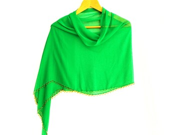 Chiffon scarf, Green, Chiffon shawl, Rectangle fabric scarf, Tassels scarf, Authantic, Romantic, Elegant, Thin fabric shawl, Chic shawl