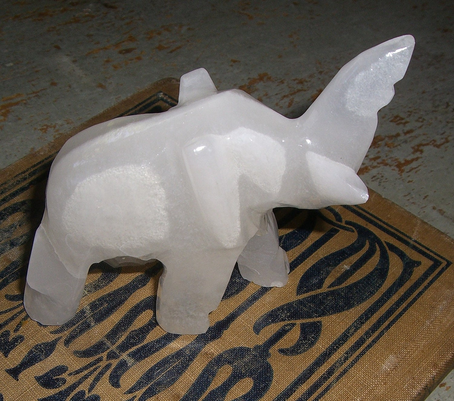 Vintage Figurine Marble Elephant White Collectibles By