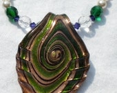 Fashion Necklace- White and Emerald Green Necklace- Elven Necklace