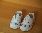 Hand painted girl canvas shoes  with lady birds, bees, butterflies and flowers