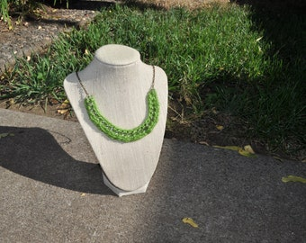 crocheted necklace in evergreen