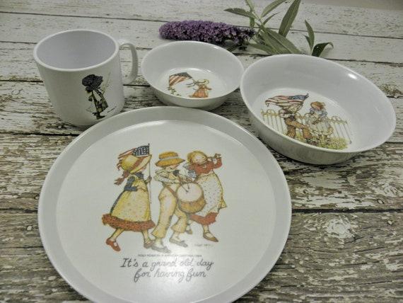 Vintage Holly Hobbie Youth Dinnerware Set Complete