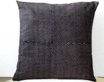 Indian block print Pillow -Black Chevron Print throw pillow  Block Print cushion