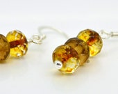 Topaz Beaded Earrings Czech Glass Sterling Silver Earrings