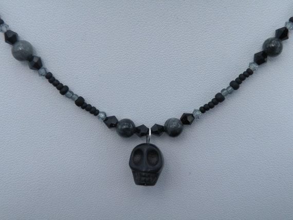 Black Skull, Beaded Necklace, Handmade Jewelry, Choker