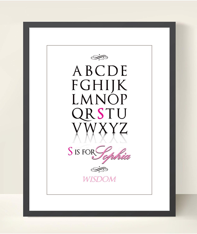 Birth Poster Baby Girl Nursery Alphabet on Tangram Alphabet S T
