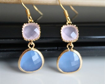Frosted pink ice blue crystal earrings, pink and blue opal glass earrings,  long dangle earrings, bridesmaid gifts. Wedding jewelry.