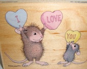Mouse House I Love You Stamped Image on Croygen Paper