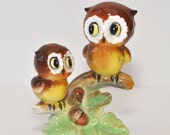 Cute Vintage Owl Figurine Mama and Baby Made in Japan