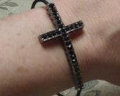 Black Sideways Cross Bracelet, flexible