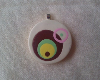 Mod Circles Chocolate Box pendant - polymer clay with silver pendant bail 1