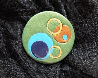 Mod Circles Peacock brooch - polymer clay with gold pinback 1