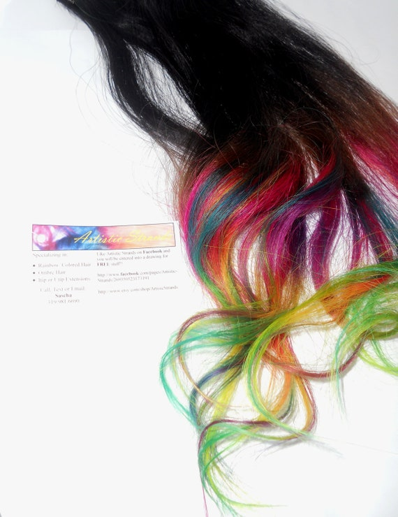 Ready to Ship/ Mulit-Colored Rainbow Hair Extensions/  Clip In Wefts / 4 Piece Set / 18'' Long/ Real Remy Hair/ Dip Dyed / Ombre Rainbow