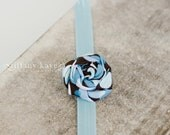 Multi-Colored Blue Fabric Flower Rosette with Blue Headband