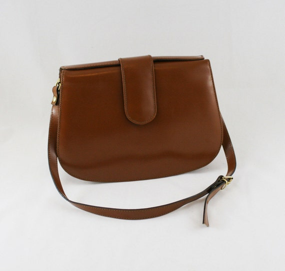 Vintage Mod Brown Patent Leather Crossbody Bag // Cristian