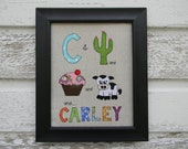 """Fabric Name Block """"C"""" - Personalized Original Colorful Hand-Crafted Fabric Keepsake Picture Art  8x10 Framed"""