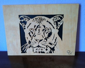 Wooden tiger picture scroll saw wall art