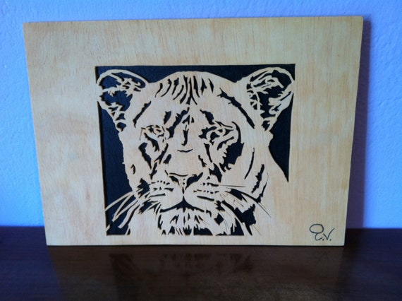 Wood Scroll Wall Decor : Wooden tiger picture scroll saw wall art by planetasierra