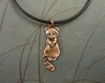 Bronze Large Raccoon Necklace