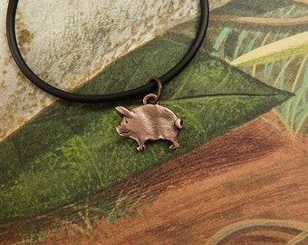 Bronze Pig Necklace