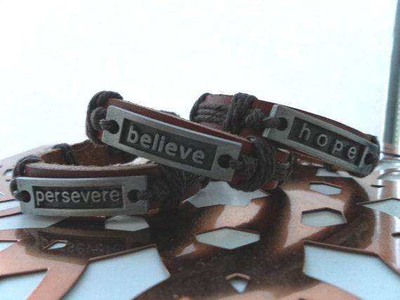 Words of Inspiration Unisex Bracelet - Blessing, Hope, Persevere Pewter Block on Leather- Affirmation Bracelet