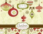 Instant Download Christmas Digital Clip Art, Card Making, Scrapbooking, ornaments, balls and digital papers Personal and Commercial Use