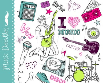 Music clip art, collage set, doodles, Music Clipart, Rock Pack Illustration Clipart Scrapbook Elements