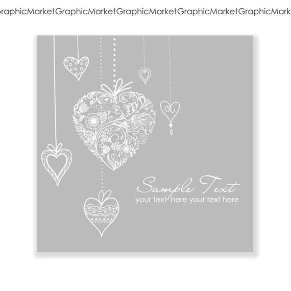 Hand Drawn wedding invitation card, hanging hearts. Digital Wedding Card