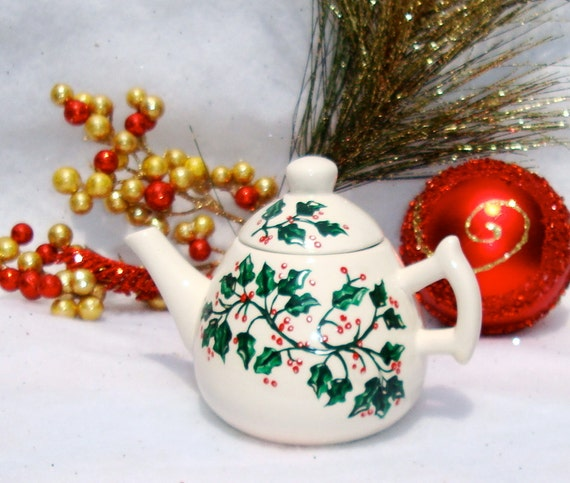 Christmas Ornament Teapot With Painted Holly Leaves